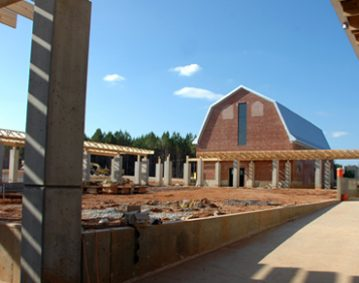 The Monastery of the Holy Spirit galvalume metal roof construction