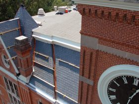 Emory University of Oxford slate & modified bitumen roof restoration