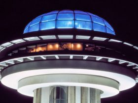 The circular building design of the iconic Blue Dome